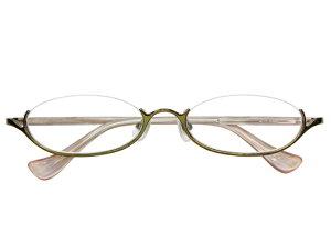 アンダーリム 逆ナイロール(メタルフレーム) メガネ 度付き/度なし/伊達メガネ オーバル グリーン メガネセット EC002-GN【金子眼鏡】【薄型レンズ付】【ケース付】【送料無料】