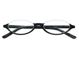 アンダーリム 逆ナイロール(セルフレーム) メガネ 度付き/度なし/伊達メガネ オーバル ブラック 黒 黒ぶち メガネセット EC001-BK【金子眼鏡】【薄型レンズ付】【ケース付】【送料無料】