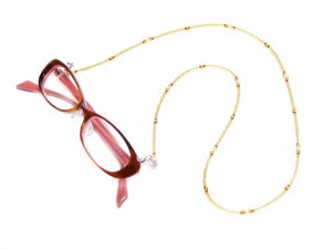 メガネチェーン グラスコード メガネコード 眼鏡コードお洒落なグラスチェーン/老眼鏡/シニアグラス/サングラスストラップ 紐 CX-69 イエロー ビーズタイプ 商品到着後にレビューを書いて次