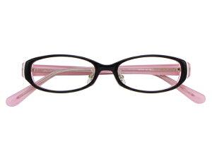 メガネ 度付き/度なし/伊達メガネ セルフレーム(プラスチック) オーバル スクエア ブラック ピンク 鼻パッド付 メガネセット 7LP007-BKPK【金子眼鏡】【薄型レンズ付】【ケース付】【送