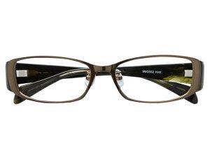 メガネ 度付き/度なし/伊達メガネ メタルフレーム スクエア カーキ グリーン バネ丁番 メガネセット 9MC002-KH2【金子眼鏡】【薄型レンズ付】【ケース付】【送料無料】