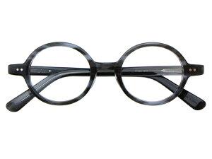 丸メガネ 丸眼鏡 丸めがね メガネ 度付き/度なし/伊達メガネ セルフレーム(プラスチック) ラウンド グレー メガネセット EC003-GYS【金子眼鏡】【薄型レンズ付】【ケース付】【送料無