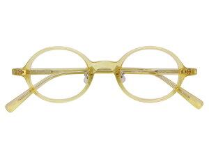 丸メガネ 丸眼鏡 丸めがね メガネ 度付き/度なし/伊達メガネ セルフレーム(プラスチック) ラウンド キハク(アメ色) 鼻パッド付 メガネセット EC004-YL【金子眼鏡】【薄型レンズ付】