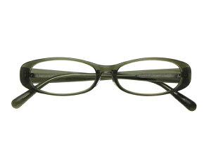 メガネ 度付き/度なし/伊達メガネ セルフレーム(プラスチック) オーバル カーキ メガネセット EC007-KH2【金子眼鏡】【薄型レンズ付】【ケース付】【送料無料】