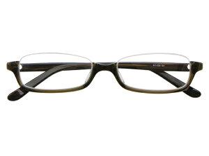アンダーリム 逆ナイロール(セルフレーム) メガネ 度付き/度なし/伊達メガネ スクエア カーキ グリーン メガネセット EC008-KH【金子眼鏡】【薄型レンズ付】【ケース付】【送料無料】