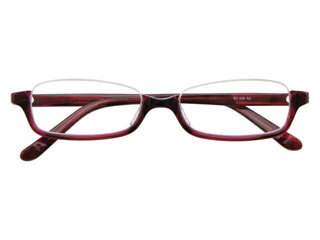 アンダーリム 逆ナイロール(セルフレーム) メガネ 度付き/度なし/伊達メガネ スクエア レッド メガネセット EC008-RD【金子眼鏡】【薄型レンズ付】10P03Dec16