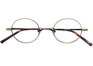 丸メガネ 丸眼鏡 丸めがね メガネ 度付き/度なし/伊達メガネ メタルフレーム ラウンド アンティークゴールド メガネセット EC012-ATG【金子眼鏡】【薄型レンズ付】【ケース付】【送料無