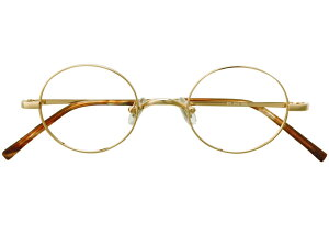 丸メガネ 丸眼鏡 丸めがね メガネ 度付き/度なし/伊達メガネ メタルフレーム ラウンド ゴールド メガネセット EC012-WG【金子眼鏡】【薄型レンズ付】【ケース付】【送料無料】