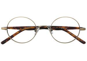 丸メガネ 丸眼鏡 丸めがね メガネ 度付き/度なし/伊達メガネ メタルフレーム ラウンド アンティークゴールド メガネセット EC013-ATG【金子眼鏡】【薄型レンズ付】【ケース付】【送料無
