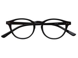 メガネ 度付き/度なし/伊達メガネ セルフレーム(プラスチック) ボストン ウェリントン ウエリントン ブラック 黒 黒ぶち メガネセット EC015-BK【金子眼鏡】【薄型レンズ付】【ケ