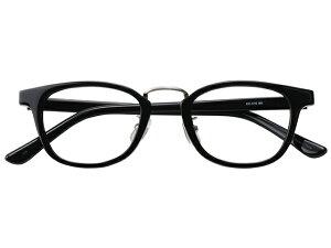 メガネ 度付き/度なし/伊達メガネ セルフレーム(プラスチック) ウェリントン ボストン マンレイ山 ブラック 黒 黒ぶち 鼻パッド付 メガネセット EC016-BK【金子眼鏡】【薄型レンズ