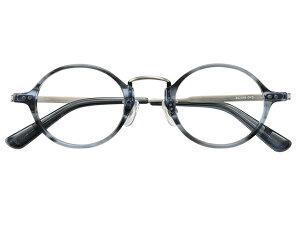 丸メガネ 丸眼鏡 丸めがね メガネ 度付き/度なし/伊達メガネ セルフレーム(プラスチック) ラウンド マンレイ山 グレー 鼻パッド付 メガネセット EC018-GYS【金子眼鏡】【薄型レンズ
