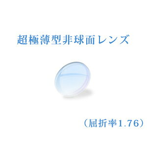 メガネレンズ 世界最薄超極薄型非球面レンズ 屈折率1.76 超硬質コートUVカット(UV400) 無色 2枚一組 【オプション専用】商品到着後にレビューを書いて次回使えるクーポンをGET!