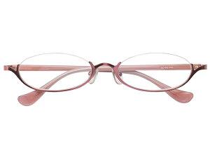 アンダーリム 逆ナイロール(メタルフレーム) メガネ 度付き/度なし/伊達メガネ オーバル ピンク メガネセット EC002-PK【金子眼鏡】【薄型レンズ付】【ケース付】【送料無料】