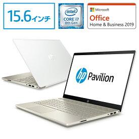 【8/26 9:59までエントリーで全品ポイント10倍】 Core i7 16GBメモリ 256GB SSD + 1TB HDD 15.6型 FHD IPS液晶 HP Pavilion 15 (型番:4PC91PA-ACAH) ノートパソコン office付き 新品 セラミックホワイト/モダンゴールド (2018年8月モデル)NVIDIA GeForce MX150