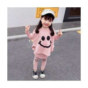 110/ピンク 子供服 セットアップ ツーピース にこちゃん スマイル 長袖 トップス トレーナー スカッツ スカート レギンス キッズ ベビー