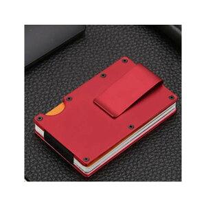 マネークリップ 付き カードケース カードホルダー レッド 財布 小さな財布 薄い財布 ステンレス スチール 赤