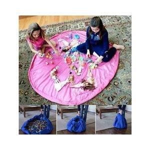 超簡単 便利おかたづけ収納マット直径約82cm ピンクレゴブロックやパズル お人形遊び細かいものを無くさないらくらくブロックポーチ おかたづけマッ