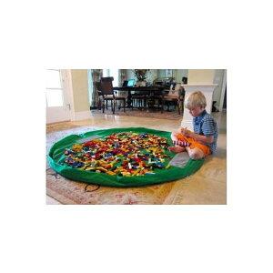 超簡単 便利おかたづけ収納マット直径約150cm グリーンレゴブロックやパズル お人形遊び細かいものを無くさないらくらくブロックポーチ おかたづけマット