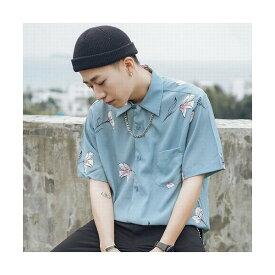 ブルー/Lサイズ メンズ メンズファッション トップス シャツ プリントシャツ カジュアル オシャレ 通勤 レトロ柄 花柄 半袖