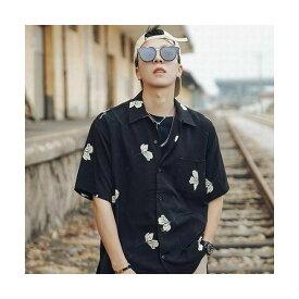 ブラック/Lサイズ メンズ メンズファッション トップス シャツ プリントシャツ カジュアル オシャレ 通勤 レトロ柄 花柄 半袖