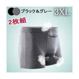 Nnボクサーパンツ・グレー&ブラック2枚組 3XL(日本、XL 相当) 上向き 前開き ドライ 陰嚢分離 爽やか感触 網ポケット付き 股間冷却