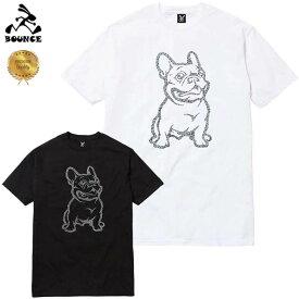 【送料無料】 BOUNCE バウンス Bulldog ブルドック 犬 ラインストーンロゴ PREMIUM 半袖 綿100% メンズTシャツ トップス かっこいい おしゃれ 人気 ブランド 大きい ビッグサイズ ストリート系 ITALY ★DISCO-J★