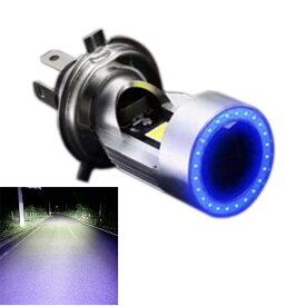 Discover winds【LED ヘッドライトバルブ ヘッドライト バイク H4 高輝度 COBLED チップ 音抑制型 高速 冷却ファン ブルーイカリング COB オートバイ カスタム ドレスアップ】