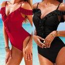 20代 30代 40代 ファッション コーディネート ブラック/レッド S M L オシャレ トレンド ワンピース 水着 ハイカット モノキニ フリル ビーチ 水着 女性 水着 ビーチ レディース【ヤ