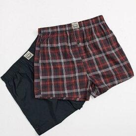 リーバイス Levi's リーバイスメンズ2パックプレミアムチェック柄織りボクサー赤 下着 メンズ 男性 インポートブランド 小さいサイズから大きいサイズまで