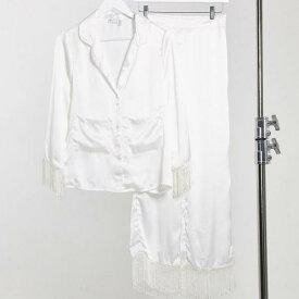 エイソス ASOS asos ASOS DESIGNトールエクスクルーシブプレミアムサテン&フリンジシャツ&パンツパジャマセットホワイト 部屋着 レディース 女性 インポートブランド 小さいサイズから大きいサイズまで