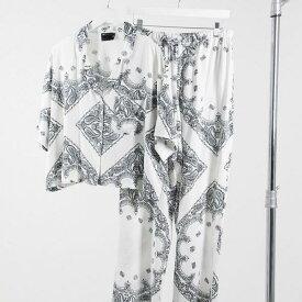 エイソス ASOS asos ASOS DESIGNスカーフプリント半袖シャツ&パンツパジャマセットホワイト 部屋着 レディース 女性 インポートブランド 小さいサイズから大きいサイズまで