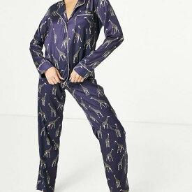 ブルーベラ Bluebella ブルーベラサテンのキリンプリントのレヴェレパジャマをネイビーにセット 部屋着 レディース 女性 インポートブランド 小さいサイズから大きいサイズまで