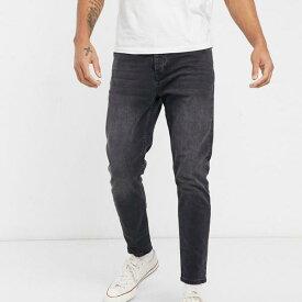 トップマン Topman TOPMAN ウォッシュドブラックのトップマンテーパードジーンズ パンツ ボトム メンズ 男性 インポートブランド 小さいサイズから大きいサイズまで