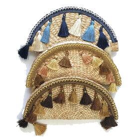 【カゴバッグ】フリンジカゴバック 封筒 半円形 扇バック ハンド バッグ 麦わらバック クラッチ バック レディース フェス 野外パーティー 海 プール ブラウン ブルー ゴールド