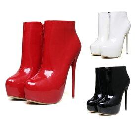 アンクルブーツ ショート ブーツ バーレスク ハイヒール ブーツ エナメル ブーツ 女性 レディース ファッション アンクルブーツ 大きいサイズ 靴 シューズ ハイヒール ニット 歩きやすい ブーツ ショートブーツ パテントレザー 黒 赤 白 ブラック レッド ホワイト キャバ嬢