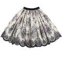ボリュームスカート ミディアムスカート ベロアウエスト サテンスカート 花柄 ヴィンテージ柄 チュール付きスカート XS〜L オードリー …