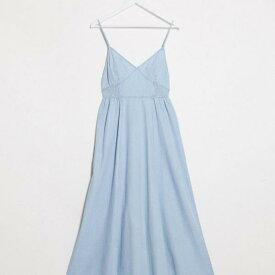 エイソス ASOS asos ASOSDESIGNソフトデニムシャーリングウエストvネックスリップドレス ワンピース レディース 女性 インポートブランド 小さいサイズから大きいサイズまで