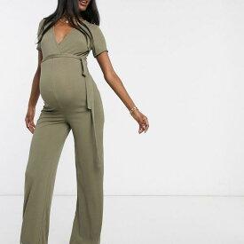 カーキ色のラップディテールが施されたMissguidedマタニティジャンプスーツ 妊婦さん レディース 女性 インポートブランド 小さいサイズから大きいサイズまで 20代 30代 40代 50代