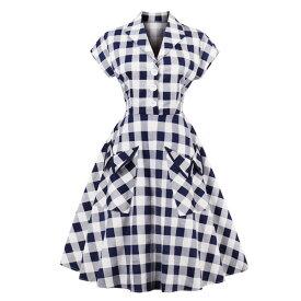袖付き シャツワンピース ギンガムチェック フレア Aライン ミディアムドレス シャツ ワンピース ウエストリボン ヴィンテージドレス レトロ ドレス ママ お母さん 主婦 上品 ママ 体型カバー お出かけ プチプライス 大きいサイズ