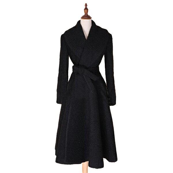 フレアコート/ウェストリボン/パーティーコート/マキシ/ブラック/コート/ミディアムコート/ヴィンテージ コート/20代 30代 40代 ファッション コーディネート セレクトショップ diva closet 小さいサイズから大きいサイズまで
