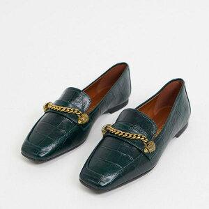 カートガイガーロンドン Kurt Geiger London Kurt Geiger LondonCamillaフラットシューズ。チェーンのディテールはダークグリーンのクロックス。 靴 レディース 女性 インポートブランド 小さいサイズ