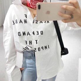 ブラウス シャツ ロゴ 文字 白シャツ ホワイトシャツ レトロ レディース 長袖 コットンシャツ ビンテージ トップス お洒落 カジュアル 大人可愛い ミセス ママ 母 20代 30代 40代 ファッション コーディネート