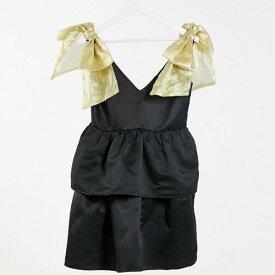 コレクティブザラベル Collective The Label コレクティブレーベル限定ミニスモックドレス、オーガンザボウショルダーブラック ワンピース レディース 女性 インポートブランド 小さいサイズから大きいサイズまで