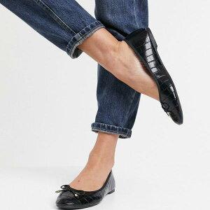アクセサライズ Accessorize 黒いワニの丸いつま先の弓のバレエフラットをアクセサリー化する 靴 レディース 女性 インポートブランド 小さいサイズから大きいサイズまで 20代 30代 40代 50代