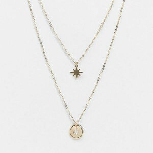 ピーシーズ Pieces ゴールドの星とコインのネックレスを重ねたピース アクセサリー レディース 女性 インポートブランド 20代 30代 40代 50代