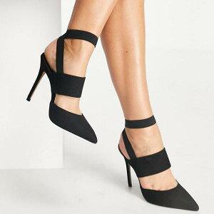 エイソス ASOS asos ASOSDESIGNワイドフィットホイッスル弾性ハイヒールブラック 靴 レディース 女性 インポートブランド 小さいサイズから大きいサイズまで 20代 30代 40代 50代