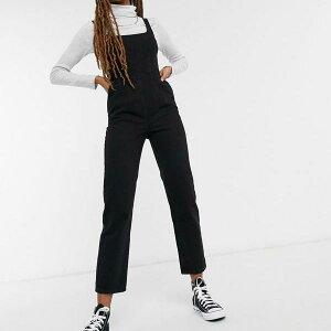 エイソス ASOS asos ASOS DESIGNデニムスクエアネックフィットジャンプスーツ、ウォッシュドブラック オールインワン レディース 女性 インポートブランド 小さいサイズから大きいサイズまで