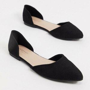 アクセサライズ Accessorize 黒で尖った2つの部分のフラットシューズをアクセサリー化 靴 レディース 女性 インポートブランド 小さいサイズから大きいサイズまで