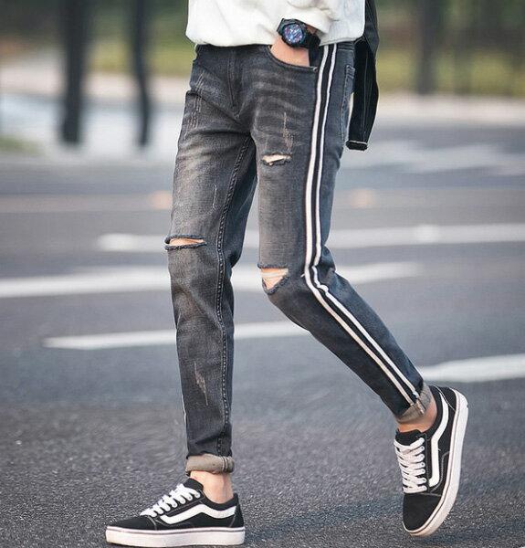 ダメージ スキニー サイドライン スキニー スキニージーンズ メンズ メンズ ジョガーパンツ ダメージ メンズ スキニー ジョガー ダメージジーンズ スリム 細身 20代 30代 40代 ファッション オシャレ トレンド カジュアル ジーンズ スリムデニム スリムパンツ
